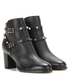 VALENTINO Rockstud Leather Ankle Boots. #valentino #shoes #boots