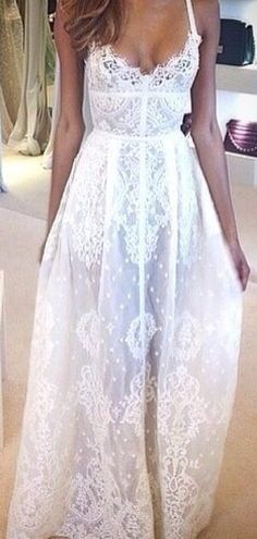 Fashion trends | Beautiful white lace maxi dress