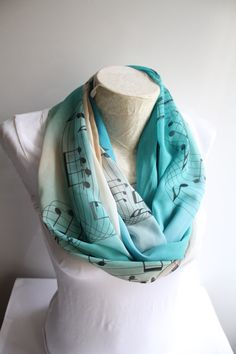 Music Scarf  Music Notes Scarf  Ombre Infinity by dreamexpress