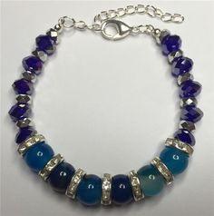 Nytt handgjort armband äkta blå Swarovski och halvädelstenar boho lyx