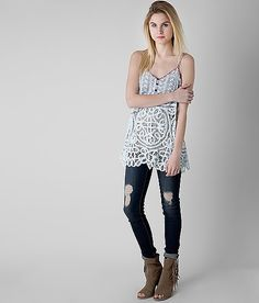 Gimmicks by BKE Pieced Henley Tank Top