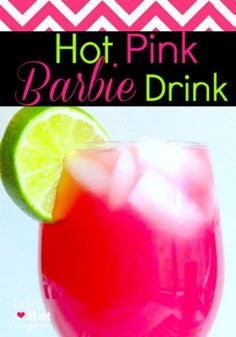 Hot Pink Barbie Drink - (Alcoholic and Non Alcoholic Version!) I would obviously do the no alcohol seeing it's for a kids party lol I 1 oz Malibu Coconut Rum 1 oz vodka 1 oz Cranberry juice 1 oz Orange juice 1 oz Pineapple Juice Lime Malibu Rum, Malibu Coconut, Coconut Rum, Non Alcoholic Drinks, Cocktail Drinks, Fun Drinks, Yummy Drinks, Cocktail Maker, Party Drinks Alcohol