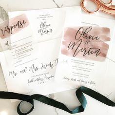 Olivia Wedding Invitation Suite // Watercolor Stroke + Vellum // Mauve // Customizable by lvandy27 on Etsy https://www.etsy.com/listing/567492310/olivia-wedding-invitation-suite