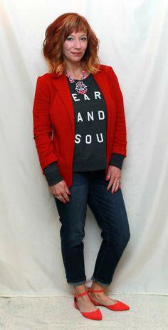 Fashion Fairy Dust red blazer, graphic sweatshirt, boyfriend jeans, bright pink flats, pink flats, statement necklace