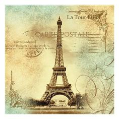 Art Print: Travel to Paris Wall Art by Malcolm Watson : 16x16in