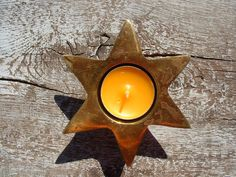 Vintage Brass Candle Holder 6-Pointed Star by OLaLaVintage on Etsy