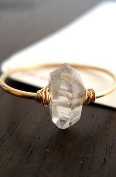 Herkimer Diamond Gold ring Engagement Wedding Gift