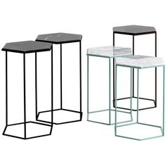 Moroso Hexxed Side Table In Color Varnished Steel And Marble ($630) ❤ liked on Polyvore featuring home, furniture, tables, accent tables, grey, side tables, grey accent table, hex side table, marble end tables and gray end table