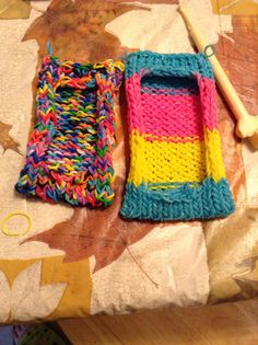 Rainbow loom phone cases I made!!