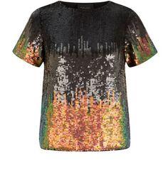 Black Ombre Sequin T-Shirt