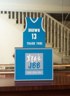 Gift box for envelopes for multi-sports themed bar mitzvah party with logo - photo credit courtesy Robin Smith