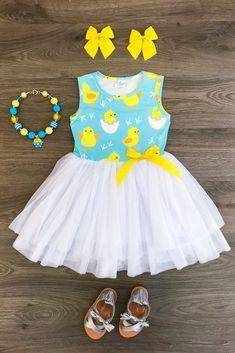 Blue Chickadee Tutu Dress