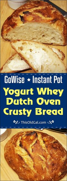 Instant Pot Yogurt Whey Dutch Oven Crusty Bread is creamy and crusty, with large holes and is ready to bake in just a few hours. via @thisoldgalcooks