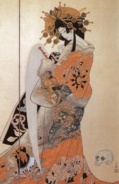 """this kind of """"geisha"""", seen in very decorated and elaborate head dress and kimono, was probably a prostitute. geisha got a bad reputation from these """"imitation"""" women. Japanese Art Modern, Japanese Drawings, Japanese Artwork, Traditional Japanese Art, Japanese Painting, Japanese Prints, Japanese Culture, Geisha Kunst, Geisha Art"""