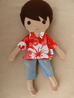 Fabric+Doll+Rag+Doll+Brown+Haired+Boy+in+Orange+and+by+rovingovine,+$38.00
