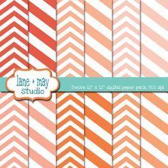 coral and white chevron scrapbook papers by lane + may on Etsy, $4.00