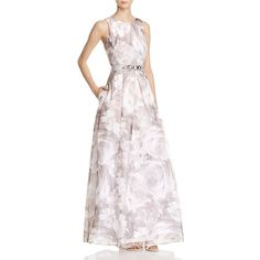 Eliza J Floral-Print Organza Gown ($238) ❤ liked on Polyvore featuring dresses, gowns, grey, gray evening dress, eliza j gowns, grey floral dress, floral evening gown and floral print dress