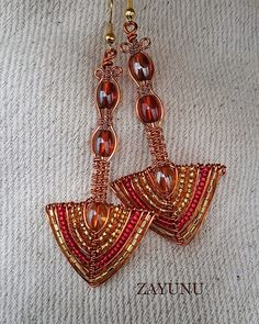 Red and Gold Arrowhead drop earrings by ZAYUNU on Etsy