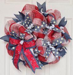 New Full Handmade Deco Mesh Bandana Western Wreath 20 Inches #WhatAMeshByDiana