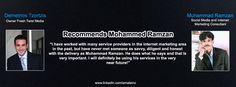 Demetrios Tzortzis Owner Fresh Twist Media Recommends Muhammad Ramzan Social Media & Internet Marketing Consultant.