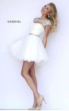 Perfect for a summer cocktail party if you have the legs go for it it's simply adorable and chic from the Sherri Hill collection 2015  11191 Ivory Cocktail Dress [11191] - $299.00 : 2015 Dress Gown Store DressGownStore.com by dressgownstore