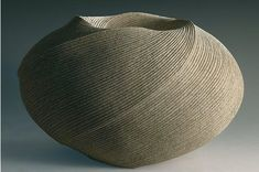 sakiyama takayuki  Double-walled,  large twisting vessel with carved folds Stoneware with sand glaze