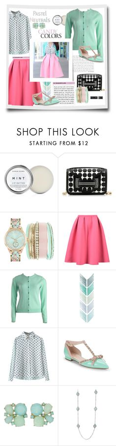 """""""Mint, Pastels & polka dots...#contestentry #blouse #skirt #cardigan #bag #flats #pastels #polkadots #mint #polyvore"""" by fashionlibra84 ❤ liked on Polyvore featuring Herbivore, Pierre Hardy, Rachel Riley, Kate Spade and Cyrus"""