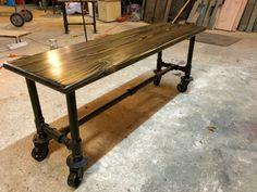 This listing is for an industrial pipe coffee table. This piece is completely customizable and we are happy adjust dimensions, stain, finish, casters/no casters, and wood type to suit your needs…More Pipe Leg Table, A Table, Dining Table, Pipe Desk, Pipe Lamp, Table Frame, Coffee Table Height, Coffee Table Legs, Plumbing Pipe Furniture