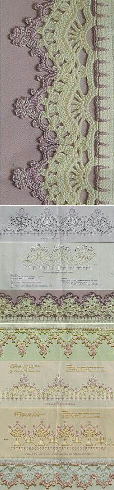 51 Ideas Crochet Lace Edging How To Crochet Boarders, Crochet Edging Patterns, Crochet Lace Edging, Crochet Motifs, Crochet Diagram, Crochet Chart, Crochet Squares, Thread Crochet, Crochet Designs