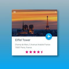 A daily UI for Android. I've seen a similar design from another designer on Dribbble but couldn't find him/her! Would love to give credit to them for my inspiration. Customer can book a flight directly to wherever they're going. In this case I have used the Eiffel Tower with a rating system on the bottom. This shows an example of material design by the Android team at Google with flat color and minimalistic approach. #android #androiddesign #flatui #materialdesign #userinterface #dribbble…