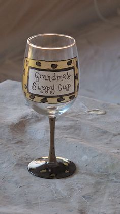 Grandma's sippy cup hand painted wine glass. $15.00, via Etsy.