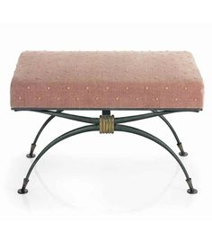 RENE PROU (1889-1947) A STOOL, 1930S patinated and partially gilt wrought-iron, re-upholstered in velvet 17 in. (43.2 cm.) high, 25 ½ in. (65 cm.) wide, 13 ¼ in. (33.6 cm.) deep