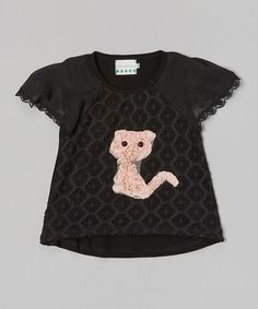 Look what I found on #zulily! Black Lace Kitty Cap-Sleeve Top - Infant, Toddler & Girls #zulilyfinds