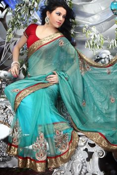 Turquoise Blue Embroidered Faux Georgette Saree. Stunning. .for pretty Angeles