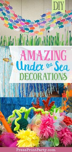 Amazing Under the Sea Decorations (VBS or Party) - Press Print Party! AMAZING UNDER THE SEA DECORATIONS. Great DIY decoration idea for an under the sea birthday party, mermaid party or classroom decor. Cut out paper fish (free template), make a coral reef Under The Sea Theme, Under The Sea Party, Under The Sea Games, Under The Sea Decorations, Mermaid Diy, Diy Party, Ideas Party, Mermaid Birthday Party Decorations Diy, Fish Party Decorations