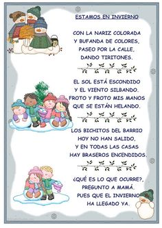 """Estamos en Invierno"" CANCIÓN Dual Language Classroom, Bilingual Classroom, Bilingual Education, Spanish Classroom, Classroom Ideas, Preschool Spanish, Teaching Spanish, Christmas Poems, Spanish Christmas"