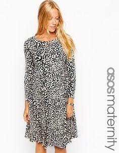 ASOS Maternity Skater Dress With Slash Neck In Animal Print