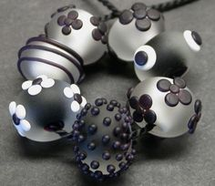 Glass Lampwork Beads Sale Clear Black White Clear Frosted hand crafted for the artisan jewelry designer and collector alike; Arcadia Beads