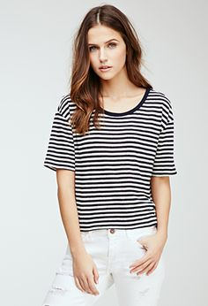 Boxy Striped Tee | FOREVER21 - 2052287984