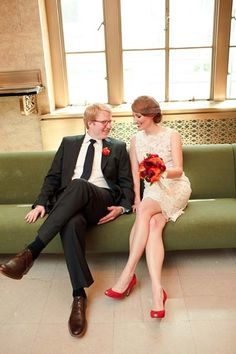 Courthouse Wedding - love the red shoes!