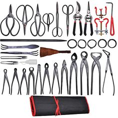 Features:- 35 pieces bonsai tool kit - satisfy your desires of styling and developing your own plants- Perfect for professional and master gardeners- Durable-made of carbon steel- Comes with a tool ro...