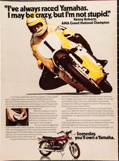 """1974 Yamaha RD350 Featuring Kenny Roberts Ad from by VintageVirtus Great disco-era advertisement from a magazine that would look great in your home or office. Retro 1-panel color ad features the 1974 Yamaha RD350 motorcycle. The ad shows motorcycle racing legend Kenny Roberts leaning into a curve.  Because of its age, there is slight discoloration and edge wear. Panel measures approximately 8""""W x 11""""L. Comes in protective sleeve and shipped with rigid cardboard."""