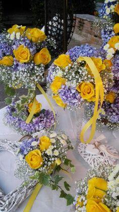 Purple and yellow wedding decors