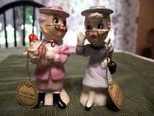 Vtg Enesco Busy Biddy Gossip Granny Salt Pepper w/ Tags Pink Blue Clothes Hats