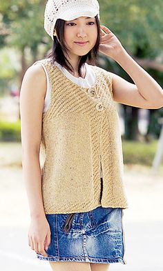 28-15 Textured Vest Knit Pattern. Translation by Linda Lanz.