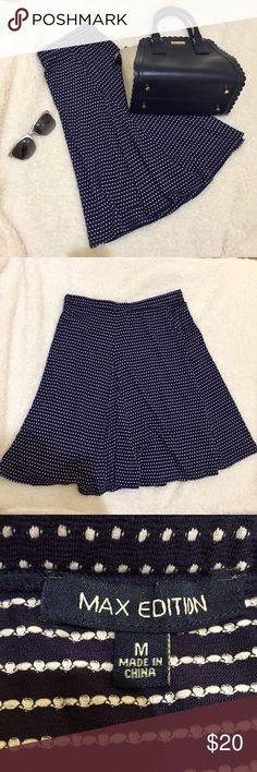 Max Edition navy blue polka dot skirt Max Edition, navy blue, polka dot, bouncy skirt. Never worn. Elastic waist, 20 in he's in length. Size M. max edition Skirts