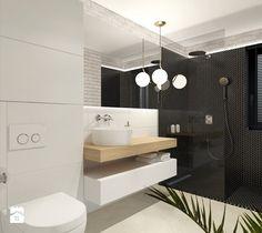 Projekt holu z biurem i toaletą - Mała średnia łazienka w bloku z oknem, styl nowoczesny - zdjęcie od LIBRA Architekci