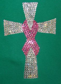 Small brown cross, vivid pink ribbon