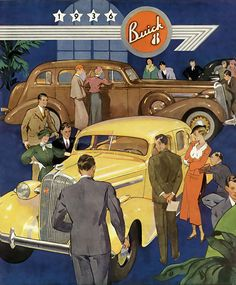 Buick 8 Yellow 1936 - Mad Men Art: The 1891-1970 Vintage Advertisement Art Collection