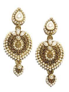 Gold & White Earrings